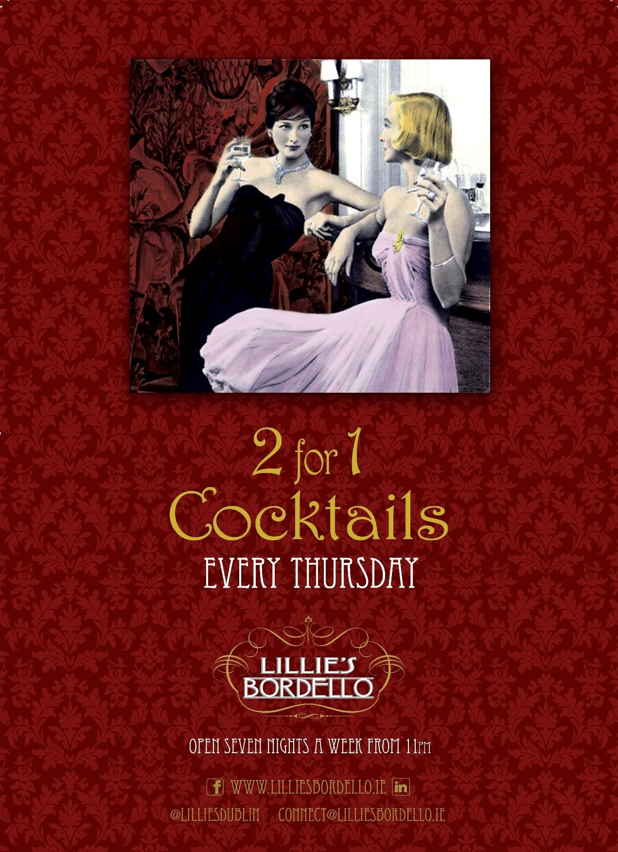2 for 1 Cocktail Thursdays at Lillie's