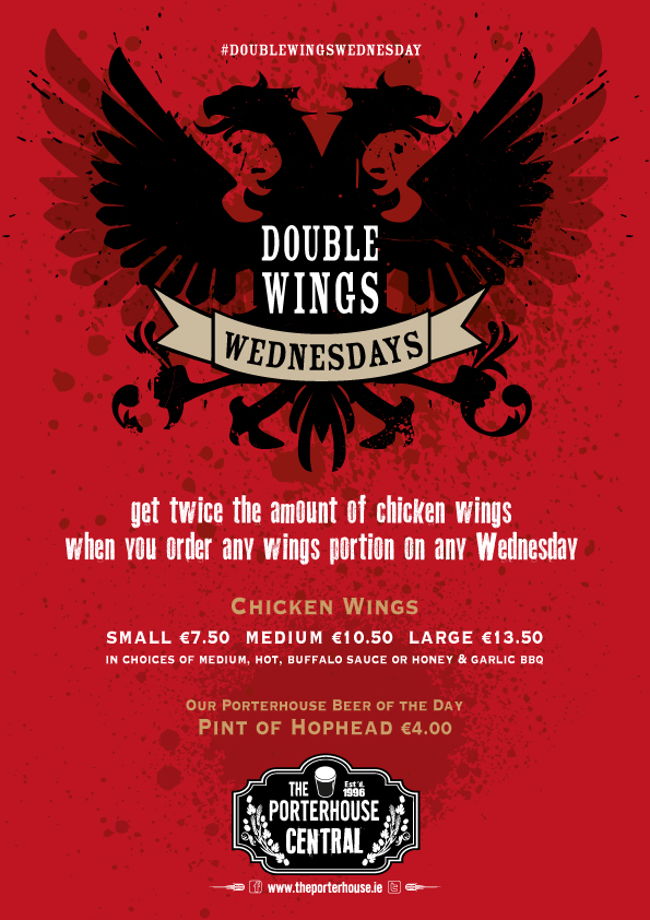 Double Wings Wednesday at Porterhouse Central!